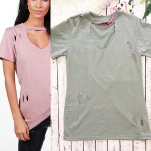 NWT Boohoo Annabelle Distressed Shirt Large